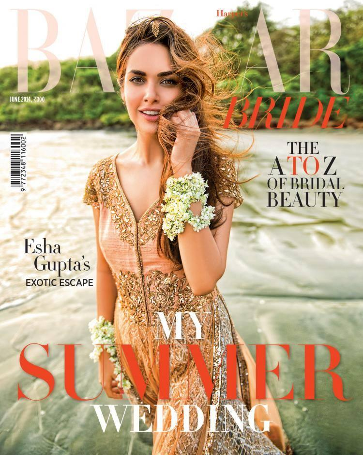 Bollywood Actress Esha Gupta On Harper's Bazaar Bride Cover Sweet Smile Stunning Pic