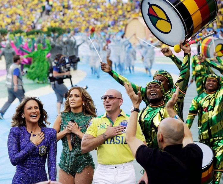 Jennifer,Claudia And Pitbull Hit The Stage To Roaring Screams During The Opening Ceremony Of The 2014 FIFA World Cup Brazil