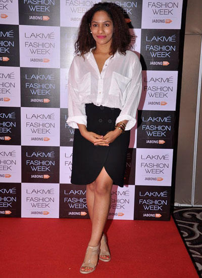 Masaba Gupta Posed In Red Carpet During Lakme Fashion Week Summer/Resort 2014