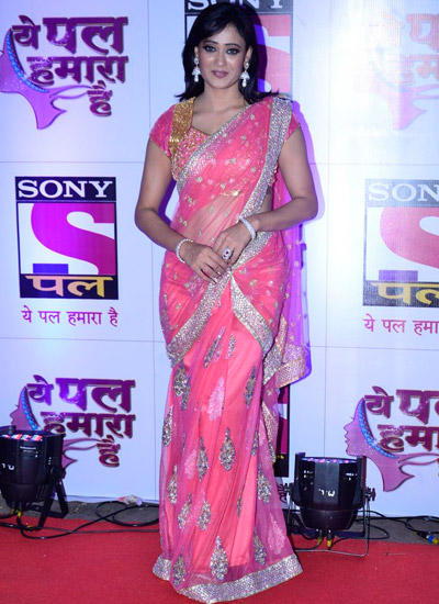 Shweta Tiwari Dazzled In Peach Saree During The Launch Of Sony Pal Channel