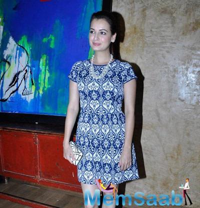 Dia Mirza Spotted At Jayam Lamba's Art Exhibition In Colaba