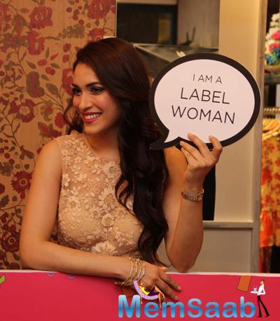 Rashmi Nigam Cool Smiling Pose During The Launch Of Ritu Kumar 2015 Summer Collection