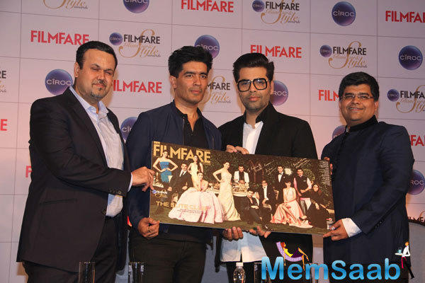 Karan And Manish At Cover Launch Of Filmfare Glamour And Style Awards Issue