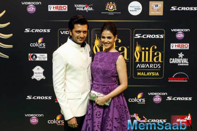 Genelia Looked Pretty In A Purple Jatin Verma Dress As She Walked The Green Carpet With Hubby Riteish
