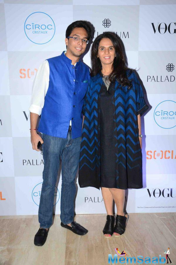 Anita Dongre Posed With Son During The Fashion's Night Out 2015