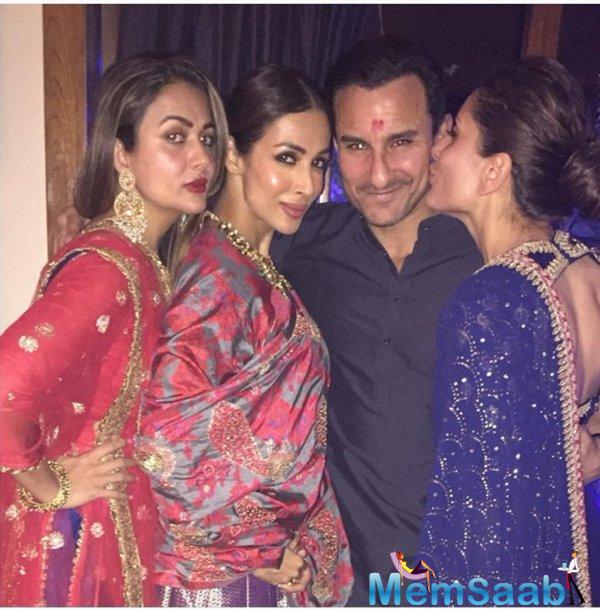 Kareena Lovingly Kissing Her Hubby Saif  During Diwali Bash