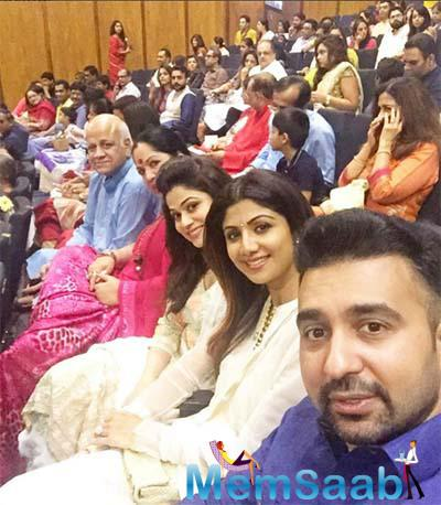 The Shettys family including, Shilpa's parents Surendra and Sunanda and her sister Shamita  were also in full attendance, Shilpa looked pretty in a white churidaar kurta