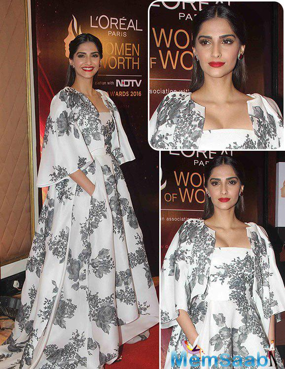 The Btown fashionista Sonam Kapoor looked wonderful in flowery prints at the L'Oreal Paris 'Women of Worth Awards.