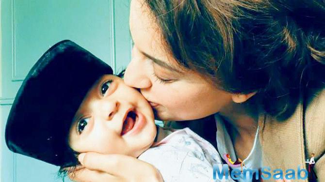 This photo of Kangana Ranaut with her nephew Prithvi Raj is simply adorable