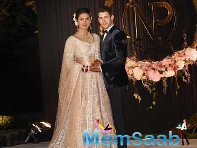 Priyanka Chopra and Nick Jonas look lovely at Mumbai wedding reception