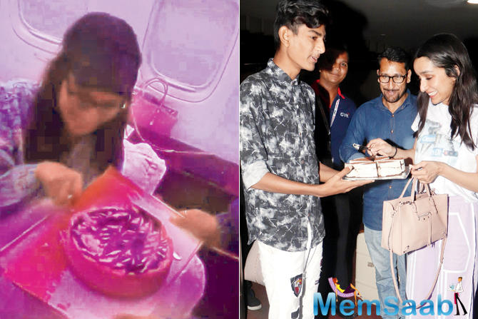 Fans greeted her with cakes at Mumbai airport too. This was followed by a celebration on the set of Chhichhore. She also cut cakes with family and pals. Talk of a sugar rush.