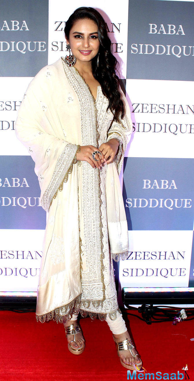 Huma Qureshi, too, chose white for the Iftar party.
