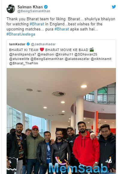 'Bharat': Salman Khan thanks the Indian cricket team for watching his film
