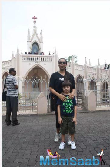 Gauri Khan attends Sunday mass at a church with son AbRam