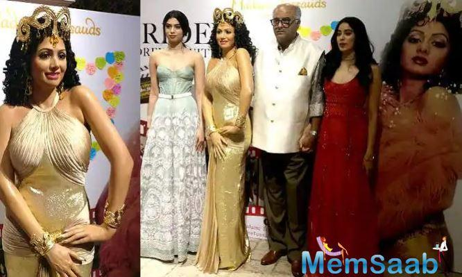 Boney Kapoor gets teary-eyed while unveiling wax statue of his late wife Sridevi in Singapore