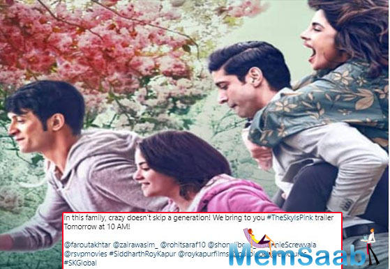The Sky Is Pink Poster: Priyanka, Farhan, Zaira, Rohit Saraf are a happy family; trailer to be out tomorrow