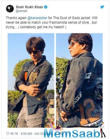 Karan Johar gifts Shah Rukh Khan a jacket, his reaction is priceless
