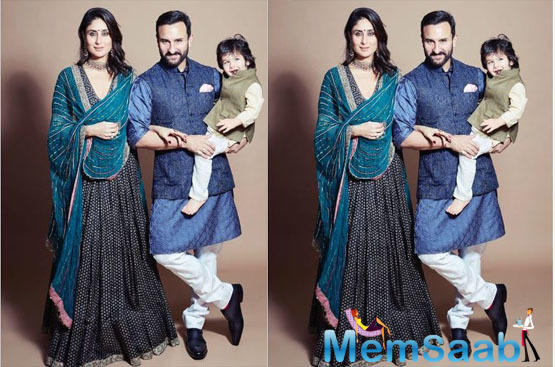 Saif Ali Khan, Kareena Kapoor Khan and Taimur Ali Khan pose for a perfect Diwali picture