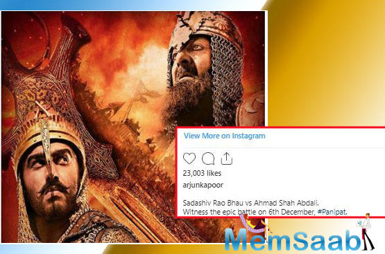 Arjun Kapoor shares a new poster of 'Panipat'; looks ready to battle it out with Sanjay Dutt aka Ahmad Shah Abdali