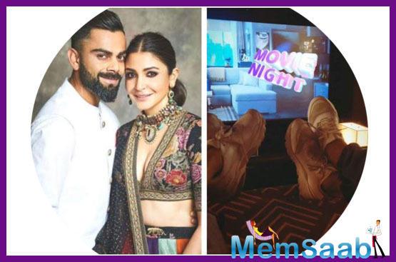 "Anushka Sharma enjoys a ""movie night"" with husband Virat Kohli"