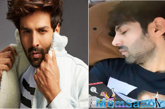 Kartik Aaryan clicks a 'sleeping selfie' as he heads to 'Dostana 2' shoot early in the morning