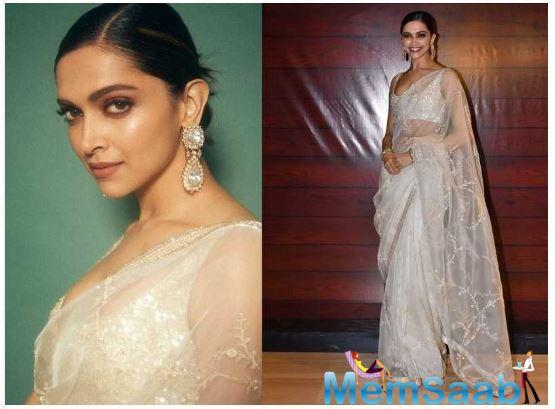 Deepika Padukone slays in a pearl white saree as she attends Javed Akhtar's 75th birthday bash