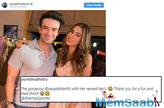 Sara Ali Khan shares a good bond with filmmaker Punit Malhotra and here is the proof!