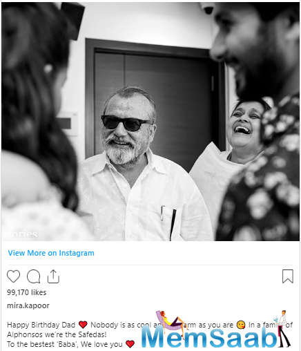 Mira Kapoor lovely wish to Pankaj Kapur On Birthday: To The Bestest 'Baba'