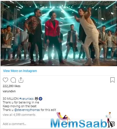 Varun Dhawan completes 30 million followers on instagram, shares a video