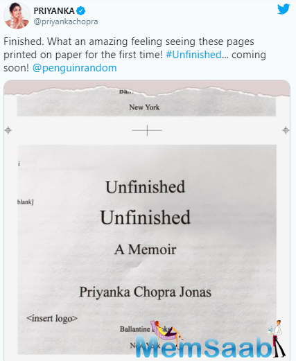 Priyanka Chopra officially confirmed that her memoir is ready, late on Monday night according to Indian time.