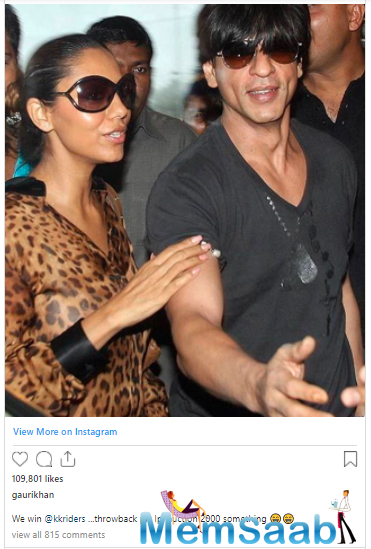 Gauri Khan shares throwback picture with Shah Rukh Khan from the IPL auction as KKR beat Delhi Capitals