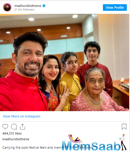 Madhuri Dixit-Nene, who has also started shooting, recently shared a picture of her family, and admitted that she was missing them a lot.