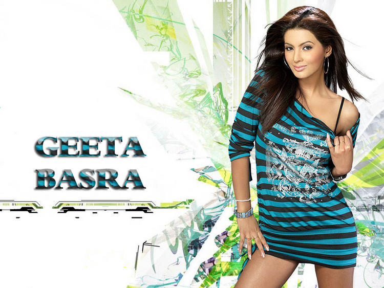 Geeta Basra Hot Golden Bikini, Bra, Cleavage Gallery Photos, Pics
