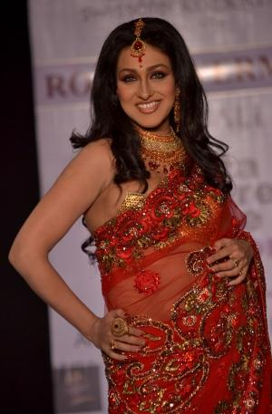 Rituparna Sengupta Red Transparent Saree Pic