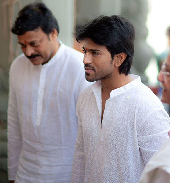 Ramcharan With Father Chiranjeevi Engagement Of Megastar
