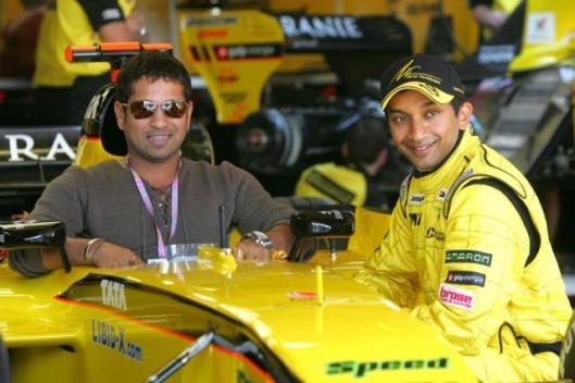 Sachin with Narayan Formula 1